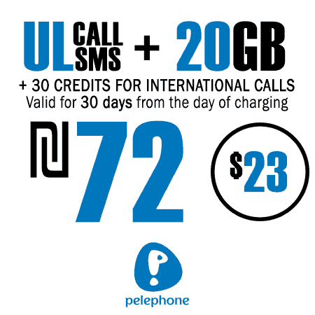 Pelephone Unlimited Calls and SMS + 20GB + 30 Credits for International Calls for 30 Days