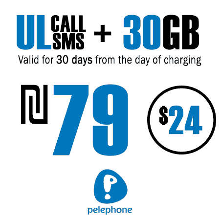 Pelephone Unlimited Calls and SMS + 30GB for 30 Days
