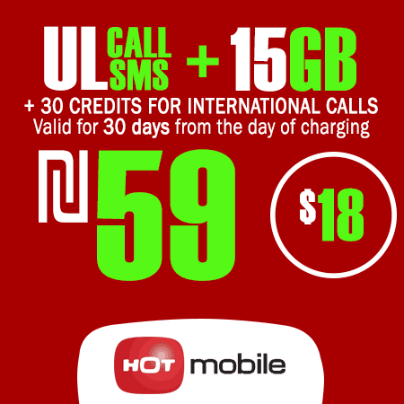 Hot Mobile Unlimited Calls and SMS + 15GB + 30 Credits for International Calls for 30 Days