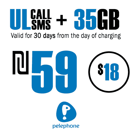 Pelephone Unlimited Calls and SMS + 35GB for 30 Days