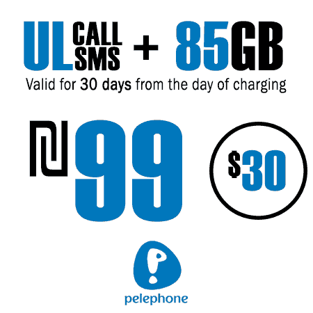 Pelephone Unlimited Calls and SMS + 85GB for 30 Days