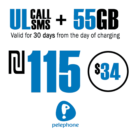 Pelephone Unlimited Calls and SMS + 55GB for 30 Days